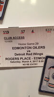 Club access tickets to Detroit game.