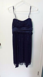 CHRISTINE - Glittery Navy Semi-Formal Dress