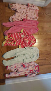 5 3-month baby girl pajamas. $10 for5