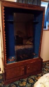 Antic Wood Gun Cabinet with Glass Doors