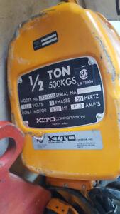 1/2  Tonne Kito Hoist 110v