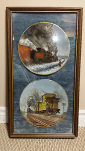 Train Plates Framed - Set of 6