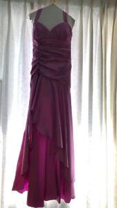 PROM/ FORMAL DRESS - Satin Magenta, Hi-Lo - worn once