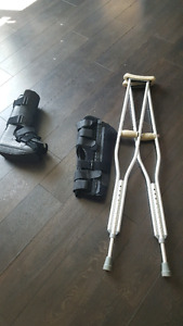 Walking Cast, Zimmer Brace and Crutches