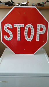 """24"""" Vintage Red Porcelain Stop Sign with Reflectors from L.A."""