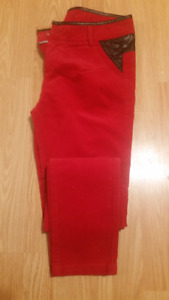 Womens Red Cords with Leather Trim