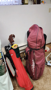 Golf bag and small  set of clubs with bag