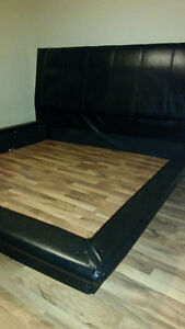 KING size Bedroom set, Leather headboard , MINT, 5 Pieces