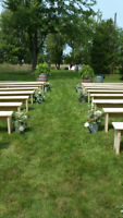 Wood Benches for Rent (Weddings & Events)