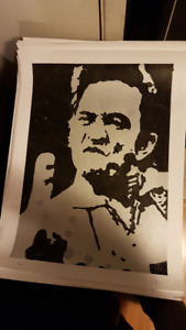 Johnny Cash Finger Original Art on 18x24 Paper by LeBach