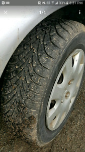 """14"""" winter studded tires great shape"""