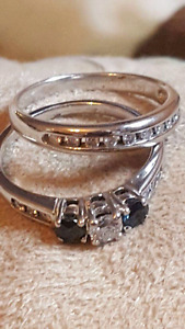Diamond with Blue Sapphires Wedding Band set with Appraisal