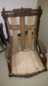 Antique Carved Rocking Chair & Folding Chair