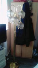 Beautiful vintage floor lamp with 5 tulip glass shads