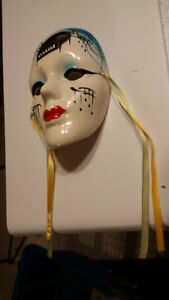 Ceramic hand painted accent mask music theme