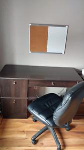 Bureau d ordinateur avec chaise en cuir