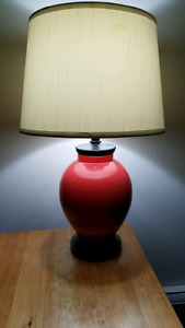 Lamps, red bottom w/ black accents & off white shades
