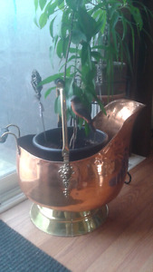 Large brass and copper jug
