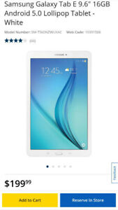 Like-new Samsung Galaxy Tab E 9.6""