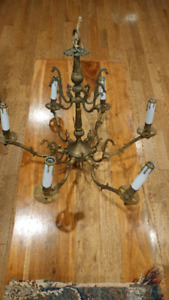 Antique solid brass. 6 arm chandelier