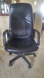 Two Black Leather Office Chairs $120 OBO