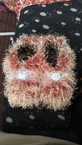 Hand knitted feux fur slippers