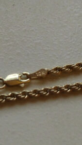 Rope chain 22 pouces , 2mm 3.7grams 10k italy