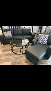 **BRAND NEW** LEATHER COUCH AND ARM CHAIR