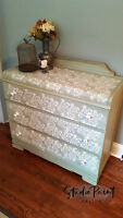 Stenciled Waterfall Dresser - Perfect Change Table!!