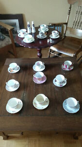 Assorted fine bone china teacups and saucers