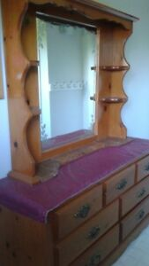 Knotty pine Dresser with mirror.