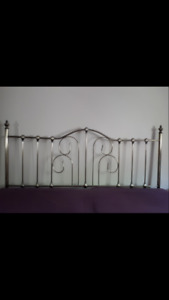 KINGSIZE NICKEL COLOURED METAL HEADBOARD