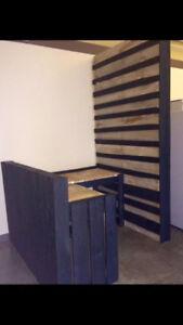 Table basse de salon en palette + meuble bureau secrétaire bois