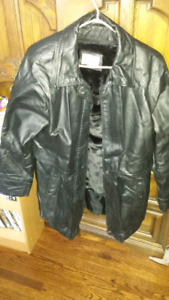 Leather winter coat