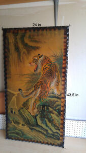 Antique Asian Tiger painting