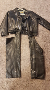 GIRLS leather Motorcycle Jacket and Chaps
