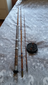 Split cane fishing rod and reel