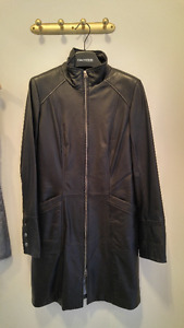 Black Leather Jacket Women 2-Way Zipper & Detachable Lining NEW!