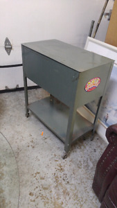Metal filing thing on wheels. Good shop tool cabinet