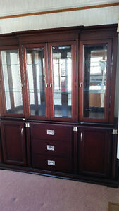 Solid wood display case, glass doors upper, wood doors & drawers Sarnia Sarnia Area image 2