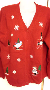 """red button up """"ugly"""" Christmas sweater with snowmen & flakes. XL"""