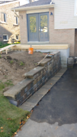 Interlock. Retaining wall. Steps