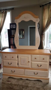 Girls bedroom furniture set (bed, dresser, mirror, nightstand)
