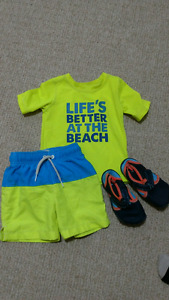 2t boys swim outfit and Water shoes