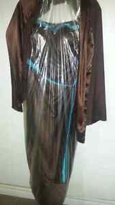 Brown satin gown with aqua accents