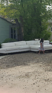 White leather Sectional couches