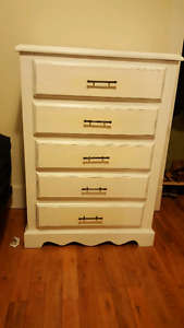 Refinished High boy, long dresser and cheval mirror for sale