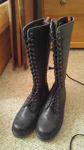Demonia knee high lace up combat boots