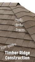 Timber Ridge Construction. Free quotes. Roofs, decks and fences.