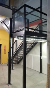 Commercial Steel Staircase w/ Platform 13' Rise 18 Steps Railing